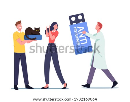 Tiny Doctor Male Character with Huge Anti Histamines Prescribe Remedy to Woman with Allergy on Cat Fur. Girl Having Symptoms of Asthma or Rhinitis of Animal Fur. Cartoon People Vector Illustration Zdjęcia stock ©