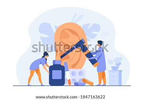 Tiny doctors treating or examining patients ear, using otology tool, carrying bottles and blisters with pills. Vector illustration for otolaryngology, health care, hearing loss concept