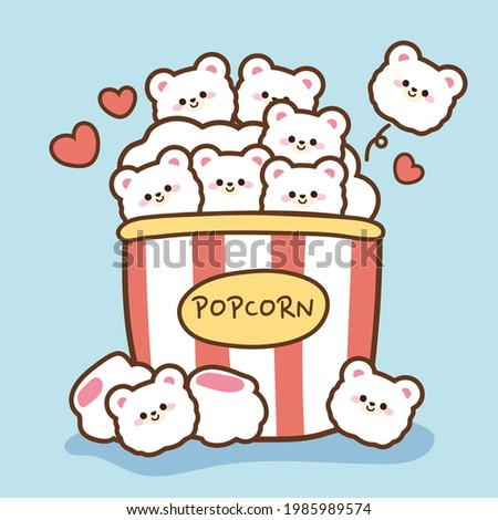 Tiny face bear popcorn cartoon on blue background. Animal character design.Cute food hand drawn.Image for kid product,sticker,card,decoration,wallpaper.Icon.Art.Kawaii.Vector.Illustration.