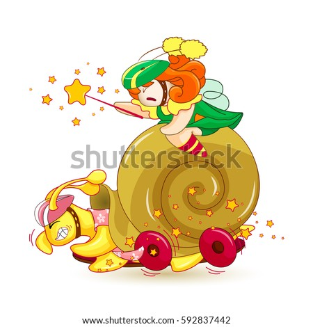 tiny fairy and snail race on a