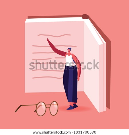 Tiny Female Character at Huge Textbook. Young Woman with Book Prepare to Examination or Make Homework. Student Girl Reading, Learning. Education in University or College. Cartoon Vector Illustration Сток-фото ©