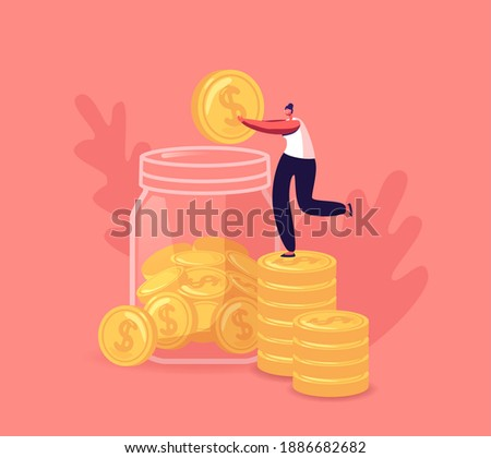 Tiny Female Character Collect Golden Coins into Huge Glass Jar. Woman Make Savings, Collecting Money in Account, Open Bank Deposit. Family Finance Budget Economy Concept. Cartoon Vector Illustration