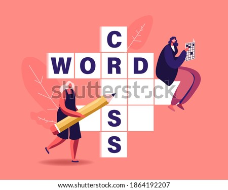 Tiny Female Characters with Pencil Solve Huge Crossword. Logic Game Spare Time Recreation, Brain Training, Puzzle Solving Concept. People Have Fun Thinking on Riddle. Cartoon Vector Illustration
