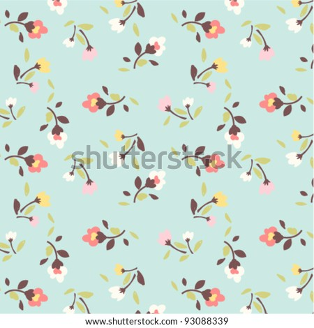 tiny floral pattern on green background - stock vector