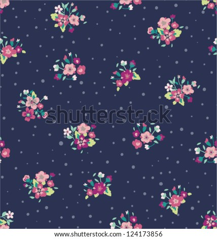 tiny flower with dots seamless pattern background