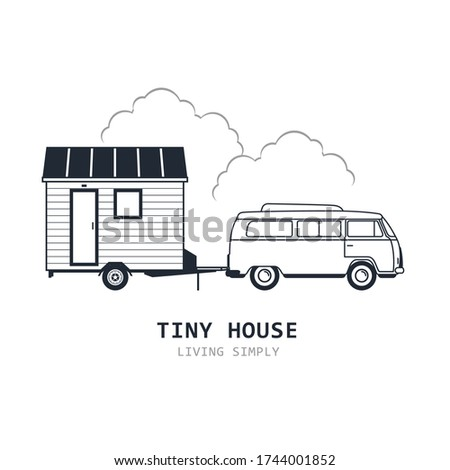 Tiny house on wheels - minivan and trailer hovel, traveling hut or cabin and suv