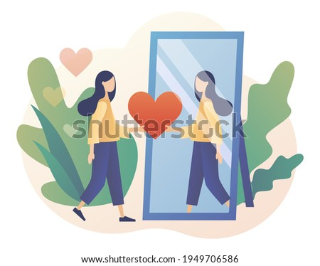 Tiny lady looks at her reflection in mirror, expressing self love and care. Love yourself. Love your body. I love myself. Bodypositive concept. Modern flat cartoon style. Vector illustration
