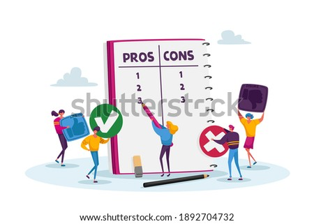 Tiny Male and Female Characters at Huge Notebook Sheet Writing Pros and Cons of Something in Column List, Advantages and Disadvantages, People Make Important Decision. Cartoon Vector Illustration Photo stock ©