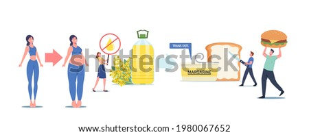 Tiny Male and Female Characters Eating Trans Fats and Margarine, People Eat Fastfood, Rapeseed Oil, Toast with Spread, Unhealthy Eating, Obesity and Cholesterol Products. Cartoon Vector Illustration Сток-фото ©