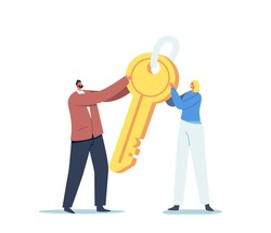 Tiny Male and Female Characters Holding Huge Golden Key. Business Motivation, Complicated Task Solution, Safety or Opportunity, Secret and Creativity Concept. Cartoon People Vector Illustration