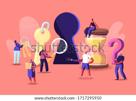 Tiny Male and Female Characters Paying Quest Game Solving Puzzle During Riddle. Escape Room Concept, Friends Company Adventure, Recreation. People with Keys and Hourglass. Cartoon Vector Illustration