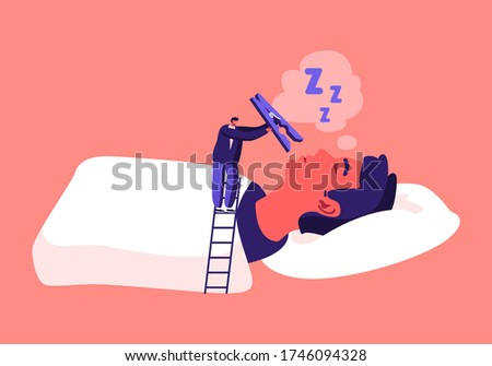 Tiny Male Character Stand on Ladder Put Huge Pin on Nose of Snoring Man Lying in Bed with Open Mouth. Snore Disease Concept. Breathing Health Disorder, Annoyance. Cartoon People Vector Illustration Foto stock ©