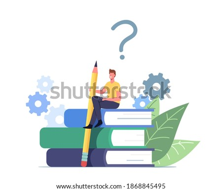 Tiny Male Character with Huge Pencil Sit on Guidance Booklet or Guided Textbook. User Manual Tutorial Concept. User Reading Guidebook and Writing Technical Instructions. Cartoon Vector Illustration Сток-фото ©