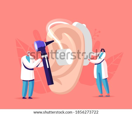 Tiny Male Female Doctors Characters Fitting Deaf Aid on Huge Patient Ear. Hearing Loss Medical Health Problem, Otolaryngology Medicine, Deafness Disease Concept. Cartoon People Vector Illustration Stock foto ©