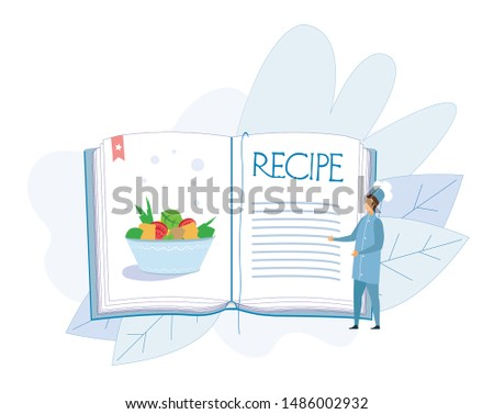 Tiny Man Chef Character in Uniform Presenting Stewed Vegetables Dish or Salad from Fresh Ingredients Recipe in Huge Cook Book. Empty Space on Pages for Notices. Vector Flat Cartoon Illustration