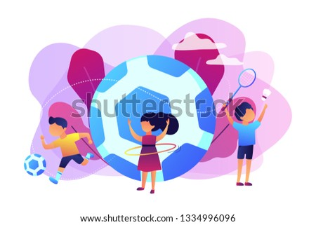 Tiny people, active kids in camp playing sports outside and big football. Sport summer camp, multi sports camp, active summer time concept. Bright vibrant violet vector isolated illustration