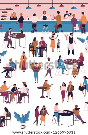 Tiny people at cafe, coffeehouse or espresso bar. Men and women sitting at tables, drinking coffee or tea, eating desserts and talking to each other. Vector illustration in flat cartoon style.