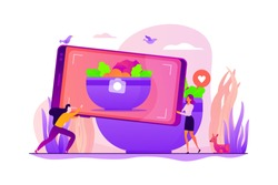 Tiny people bloggers with huge smartphone trying to take a photo of prepared dish for blog. Food blogging, food hunter review, foodie blog concept. Vector isolated concept creative illustration.