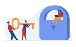 Tiny people carrying key to open padlock. Password, laptop, confidential flat vector illustration. Security and protection concept for banner, website design or landing web page