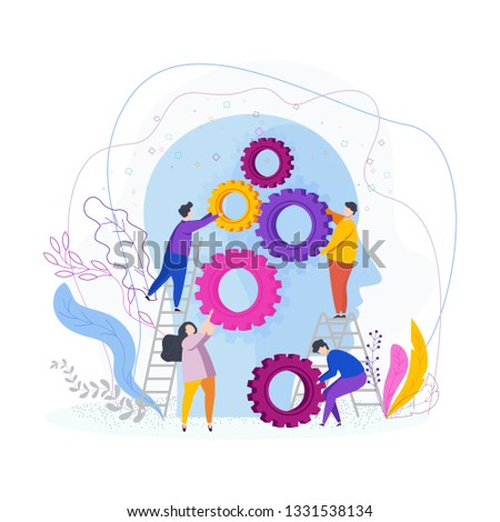 Tiny people collect gear in the human head. The development of imagination and creativity, the emergence of ideas, brainstorming, innovation. Flat vector illustration.