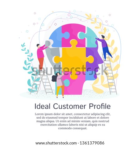 Tiny People Create Ideal Customer Profile. Customer information to create a marketing strategy and tactics to promote a brand, product, service.