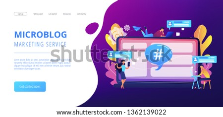 Tiny people customers receive messages from microblogging service. Microblog platform, microblogging market, microblog marketing service concept. Website vibrant violet landing web page template.