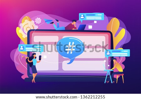 Tiny people customers receive messages from microblogging service. Microblog platform, microblogging market, microblog marketing service concept. Bright vibrant violet vector isolated illustration