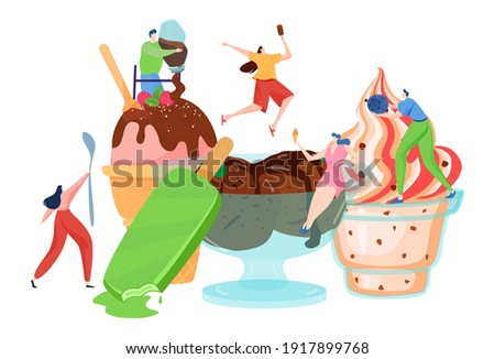 Tiny people decorate ice cream, dessert time, delicious sweet food, hot summer, woman cook, cartoon style vector illustration. Frozen juice, soft cr me brulee, joyful men and women working in cafe. Photo stock ©