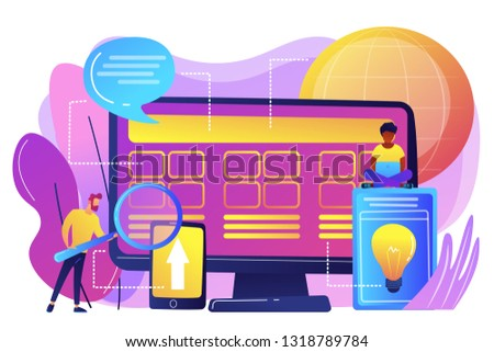 Tiny people developers at computer working on core system. Core system development, all in one software solution, core system modernization concept. Bright vibrant violet vector isolated illustration