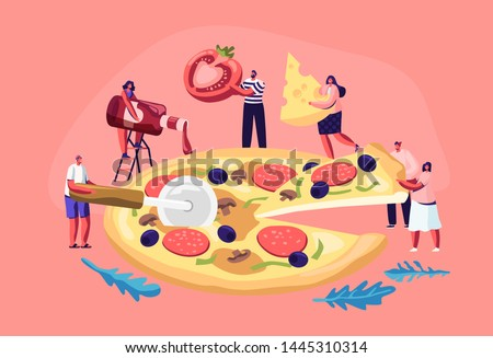 tiny people eating huge pizza
