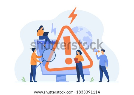 Tiny people examining operating system error warning on web page isolated flat vector illustration. Cartoon mistake and alert on website. Computer diagnostics and digital technology concept