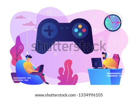 tiny people gamers playing