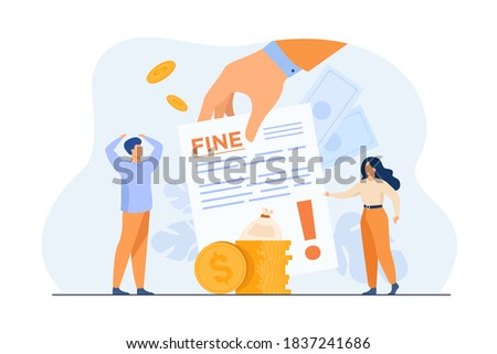 Tiny people getting paper sheet with fine flat vector illustration. Cartoon characters paying traffic bill, municipal tax or parking fee as penalty from police. Financial mulct or punishment concept ストックフォト ©
