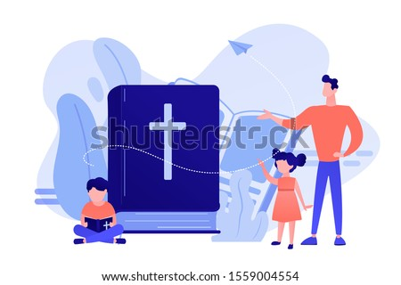 Tiny people, kids boy and girl in christian summer camp reading bible. Religious summer camp, faith based camp, religious education concept. Pinkish coral bluevector isolated illustration Foto d'archivio ©