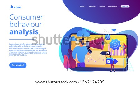 Tiny people, marketer with megaphone, consumers data analysis. Data driven marketing, consumer behaviour analysis, digital marketing trend concept. Website vibrant violet landing web page template.