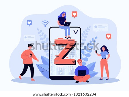 Tiny people messaging online flat vector illustration. Cartoon modern demography trend with progressive youth gen. Z generation, social culture and technology concept Stok fotoğraf ©