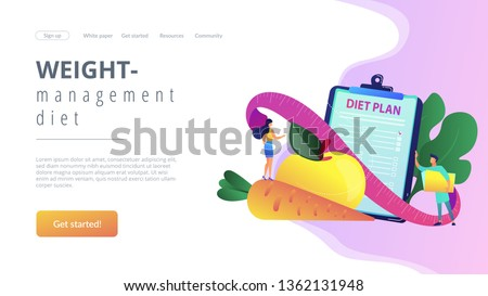 Tiny people nutritionist and diet plan checklist with vegetables, fruit. Nutrition diet, weight-management diet, individual dietary service concept. Website vibrant violet landing web page template.