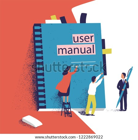 Tiny people or managers trying to open giant user manual. Small men and women and large computer software guide or technical document. Colorful vector illustration in modern flat cartoon style.