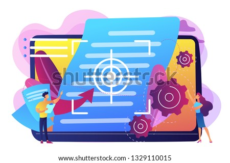 Tiny people project managers work on vision and scope document. Vision and scope document, project main plan, project management document concept. Bright vibrant violet vector isolated illustration Сток-фото ©
