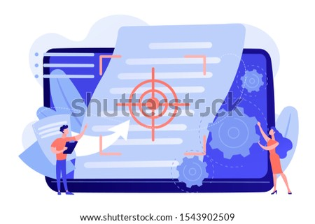 Tiny people project managers work on vision and scope document. Vision and scope document, project main plan, project management document concept. Pinkish coral bluevector isolated illustration