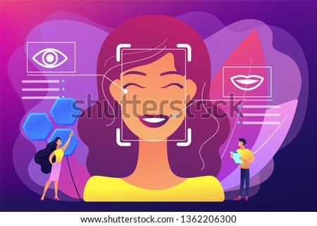 Tiny people scientists identify womans emotions from voice and face. Emotion detection, emotional state recognizing, emo sensor technology concept. Bright vibrant violet vector isolated illustration