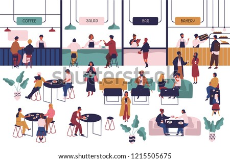 Tiny people sitting at tables in large hall and eating and vendors staying at counters. Men and women having lunch or dinner at food court. Colorful vector illustration in flat cartoon style.