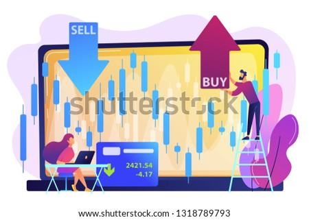 Tiny people stock traders at laptop with graph chart buy and sell shares. Stock market index, stockbroking company, stock exchange data concept. Bright vibrant violet vector isolated illustration