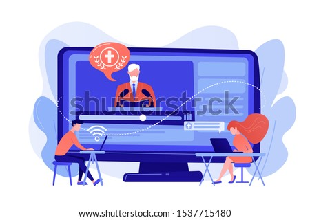 Tiny people, students listening to religious lecture online. Theological lectures, online religious lectures, religious studies course concept. Pinkish coral bluevector isolated illustration Stock photo ©