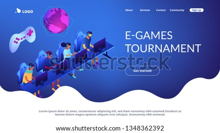 Tiny people team of cybersport players in headsets playing electronic game online. Cybersport team, e-games tournament, top esports team concept. Isometric 3D website app landing web page template