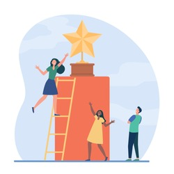 Tiny people trying to get golden star. Ladder, award, reward flat vector illustration. Competition and acknowledgement concept for banner, website design or landing web page