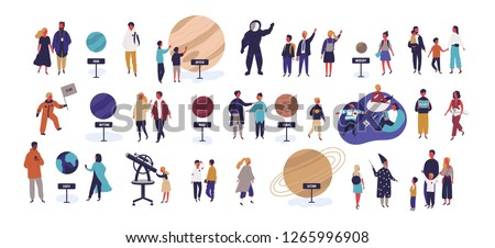 Tiny people visiting planetarium, looking at celestial bodies or space objects, planets of Solar system. Entertainment for kids and adults. Colorful vector illustration in modern flat cartoon style.