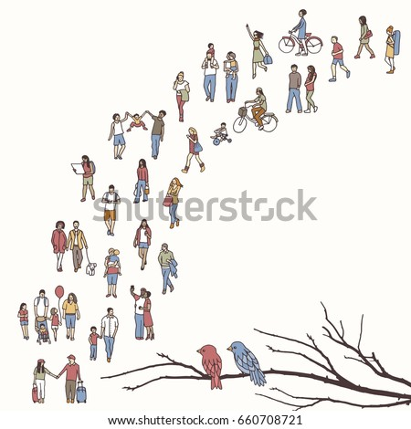 tiny people walking in a queue