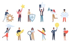 Tiny people with social media icons. Small characters with big signs objects, little men and women hold online apps symbols, messages and ideas, likes and feedback vector flat cartoon isolated set