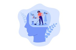 Tiny person cleaning space inside human head, moping floor. Person working on clear mind and mental detox metaphor. Vector illustration for mental health improvement, sanity, self care concept
